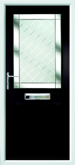 Beeston 1 composite door in Black with Brilliante glass