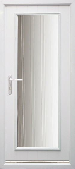 The stylish Biella composite door shown in White with Chrome finish handle and secure multi point locking system.