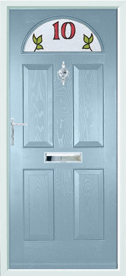Conway 1 composite door in Duck Egg Blue with bespoke glass.