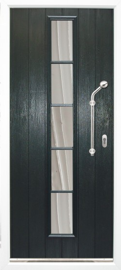 Florence composite door shown in Green with ES 21 door handle and key only security locking option.