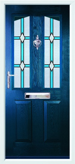 Harlech composite door in Blue with CTB glass.