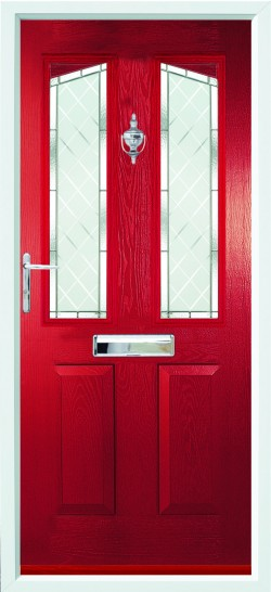 Harlech composite door in Red with Brilliante glass.