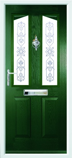 Harlech composite door in Green with CSB 2 glass.