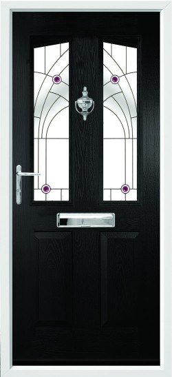 Harlech 2 composite door in Black with Jewel glass.