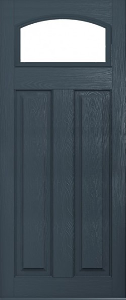 The London composite door in Anthracite Grey with glazed panel.
