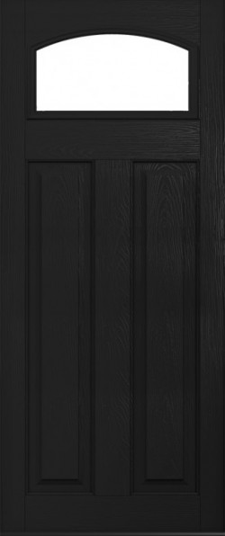 The London composite door in Black with glazed panel.