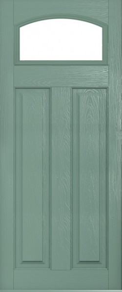The London composite door in Chartwell Green with glazed panel.