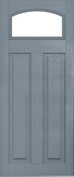 The London composite door in French Grey with glazed panel.