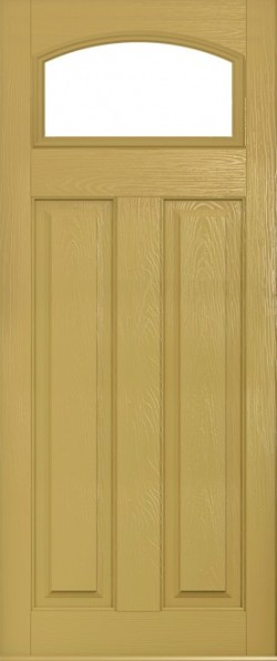 The London composite door in Golden Sand with glazed panel.