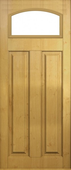 The London composite door in Irish Oak with glazed panel.