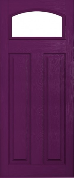 The London composite door in Rich Aubergine with glazed panel.