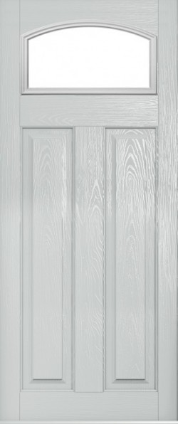The London composite door in White with glazed panel.