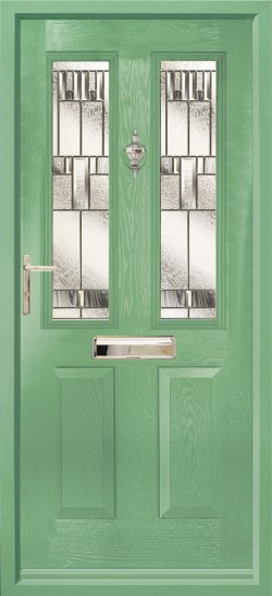 Ludlow 2 composite door in Chartwell Green with Prairie glass