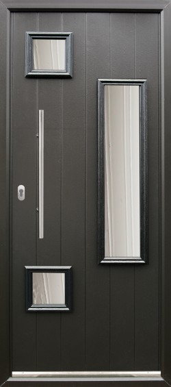 Messina composite door shown in Black with matching Black frame, ES 3 650mm Door handle and key only security locking option.
