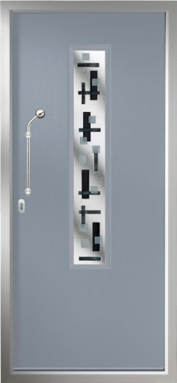 The Monza composite door shown in French Grey with Bistrita glass, chrome finish handle and multi point locking.