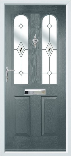 Nottingham composite door in Grey with Butterscotch glass.