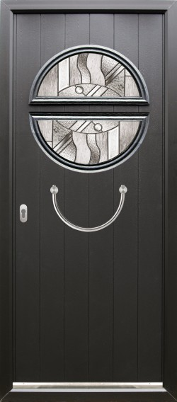 Pisa composite door shown in Black with matching Black frame and ES 23 semi-circular door handle, abstract glass and key only locking option.
