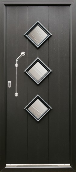Roma composite door shown in Black with matching Black frame, ES 21 Door handle and key only security locking option.