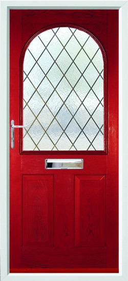 Stafford composite door in Red with Diamond Lead glass.