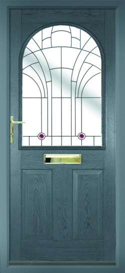 Stafford composite door in Grey with Jewel glass.