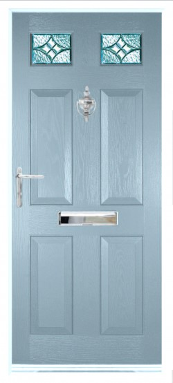 Tenby 2 composite door in Duck Egg Blue with Elegance glass.
