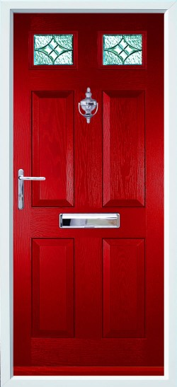 Tenby 2 composite door in Red with Royale glass.