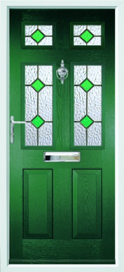 Tenby 4 composite door in Green with CTL 17.4 glass.