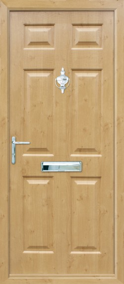 Tenby Solid composite door in Irish Oak.