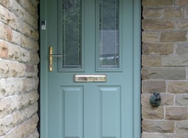 Ludlow 2 composite door in Chartwell Green with Brilliante glass