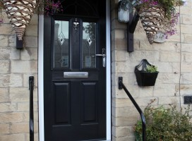 Conway 3 composite door in Black with Diamond Black glass.