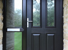Harlech 2 composite door in Black with Jewel glass and side panel.