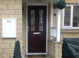 Ludlow Composite Door in Rosewood with White frame and frosted glass, Longwood, Huddersfield