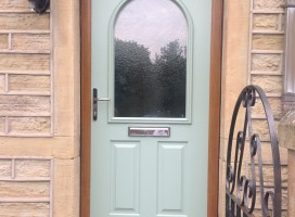 Stafford Composite Door in Chartwell Green with Irish Oak frame and frosted glass, Longwood, Huddersfield