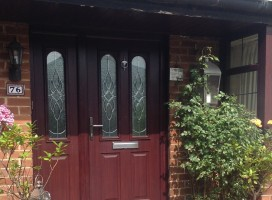 Nottingham Composite Door in Rosewood with Elegance glass and integrated side panel, Lindley