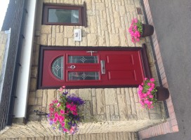 Conway Composite door in red with Rosewood frame and Simplicity glass, Rastrick.