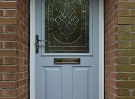 Stafford composite door in Duck Egg Blue with Elegance glass.