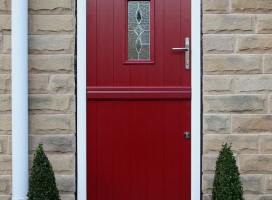 Ancona stable door in Red with bespoke glass.