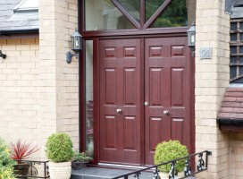 Tenby Solid composite French doors in Rosewood, Taylor Hill