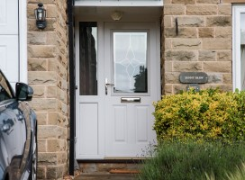 Beeston composite door in White with bespoke glass and side panel, Shelley, Huddersfield