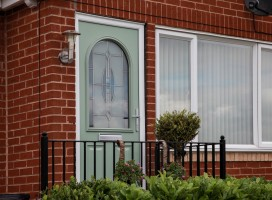 Stafford composite door in Chartwell green with reflective glass, Meltham
